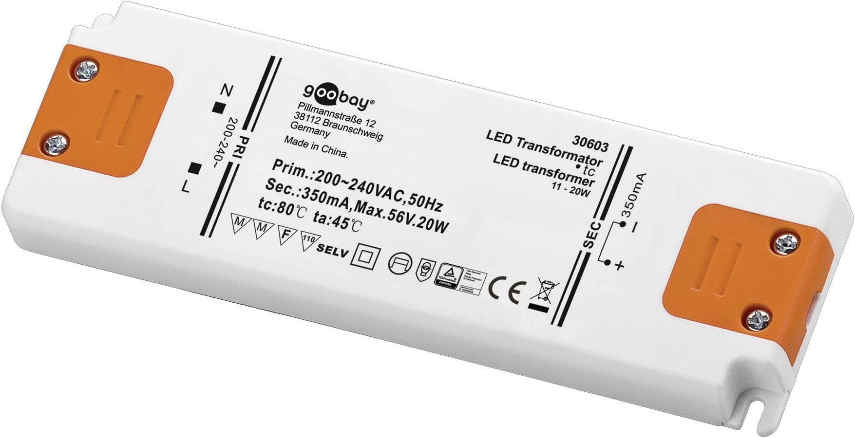 Vstavateľný LED driver Goobay SET CC 350-20 LED, 20 W (max), 0.35 A, 0 - 56 V/DC