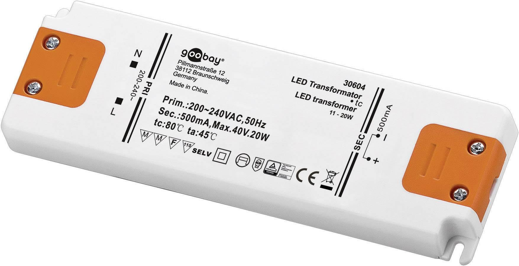 Vstavateľný LED driver Goobay SET CC 500-20 LED, 20 W (max), 0.5 A, 0 - 40 V/DC