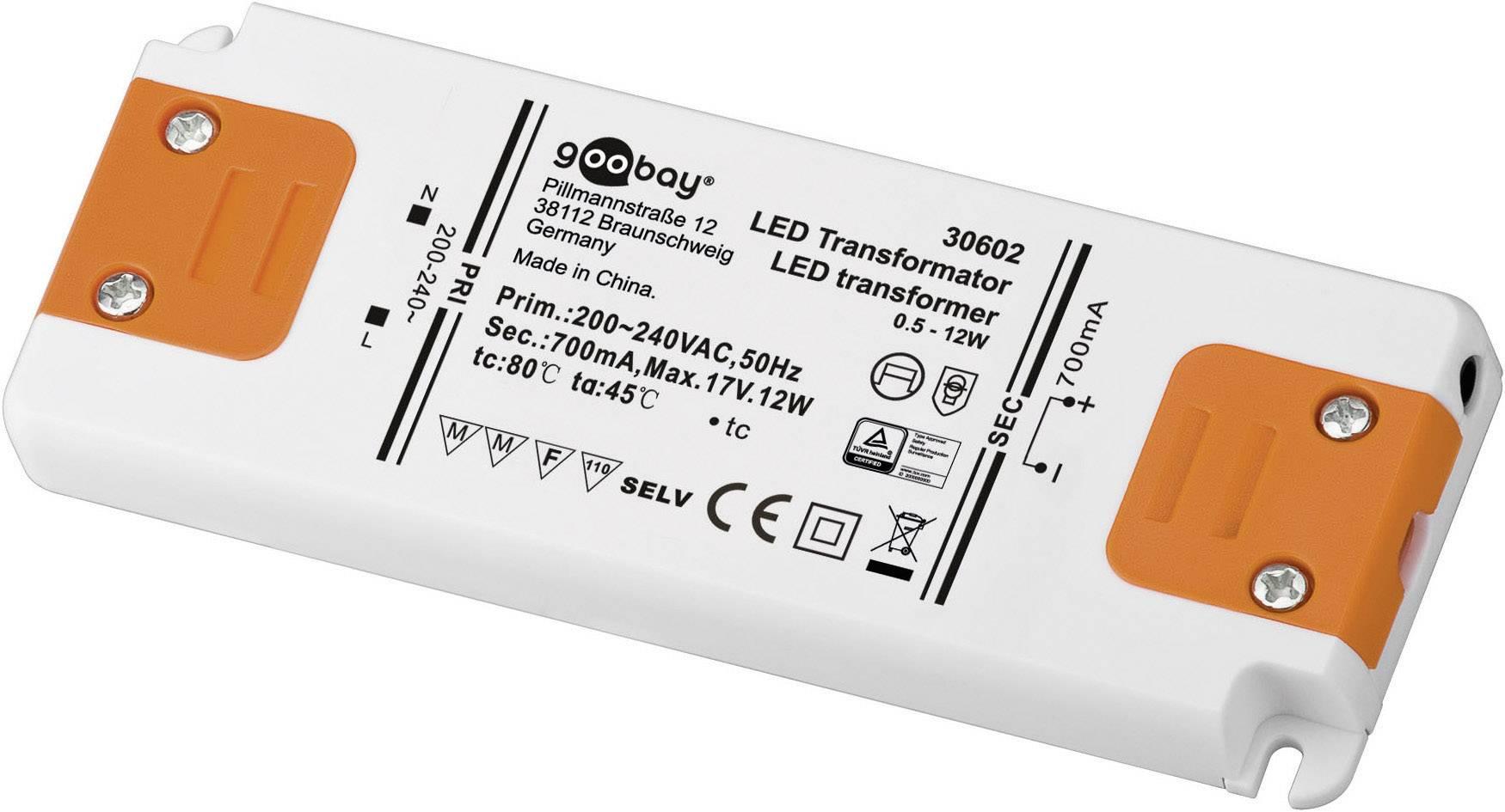 Vstavateľný LED driver Goobay SET CC 700-12 LED, 12 W (max), 0.7 A, 0 - 17 V/DC