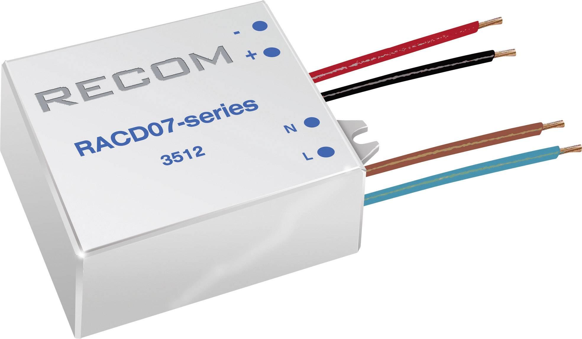 LED zdroj konštantného prúdu Recom Lighting RACD07-350, 350 mA, prevádzkové napätie (max.) 264 V/AC