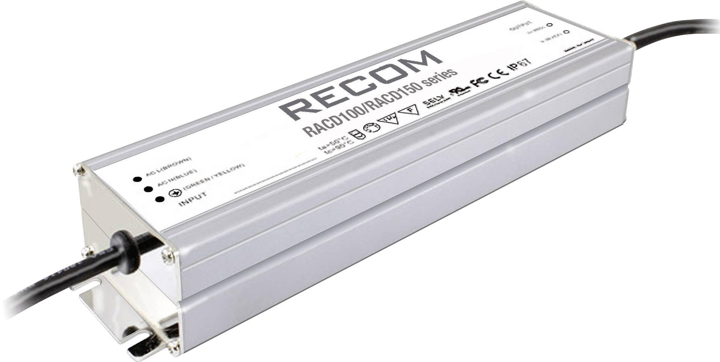 LED driver, napájací zdroj pre LED Recom Lighting RACD150-24, 150 W (max), 6.3 A, 14 - 24 V/DC