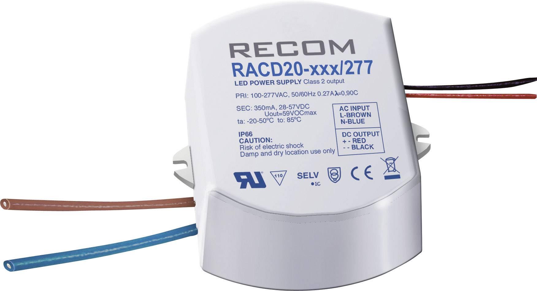 LED zdroj konštantného prúdu Recom Lighting RACD20-700/277, 700 mA, prevádzkové napätie (max.) 277 V/AC