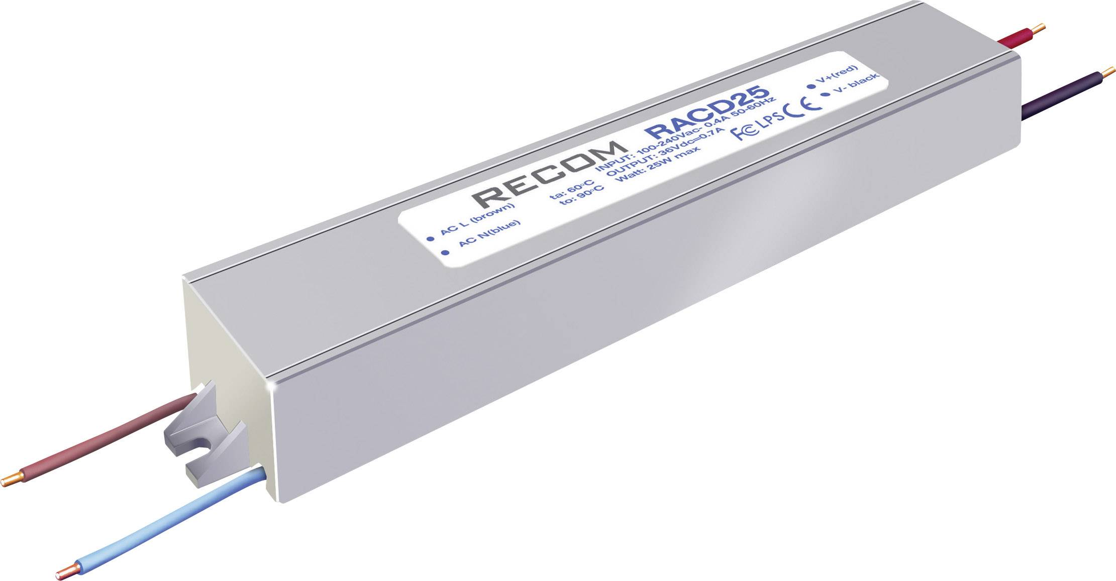 LED driver Recom Lighting RACD25-500P, 25 W (max), 0.52 A, 42 - 52 V/DC