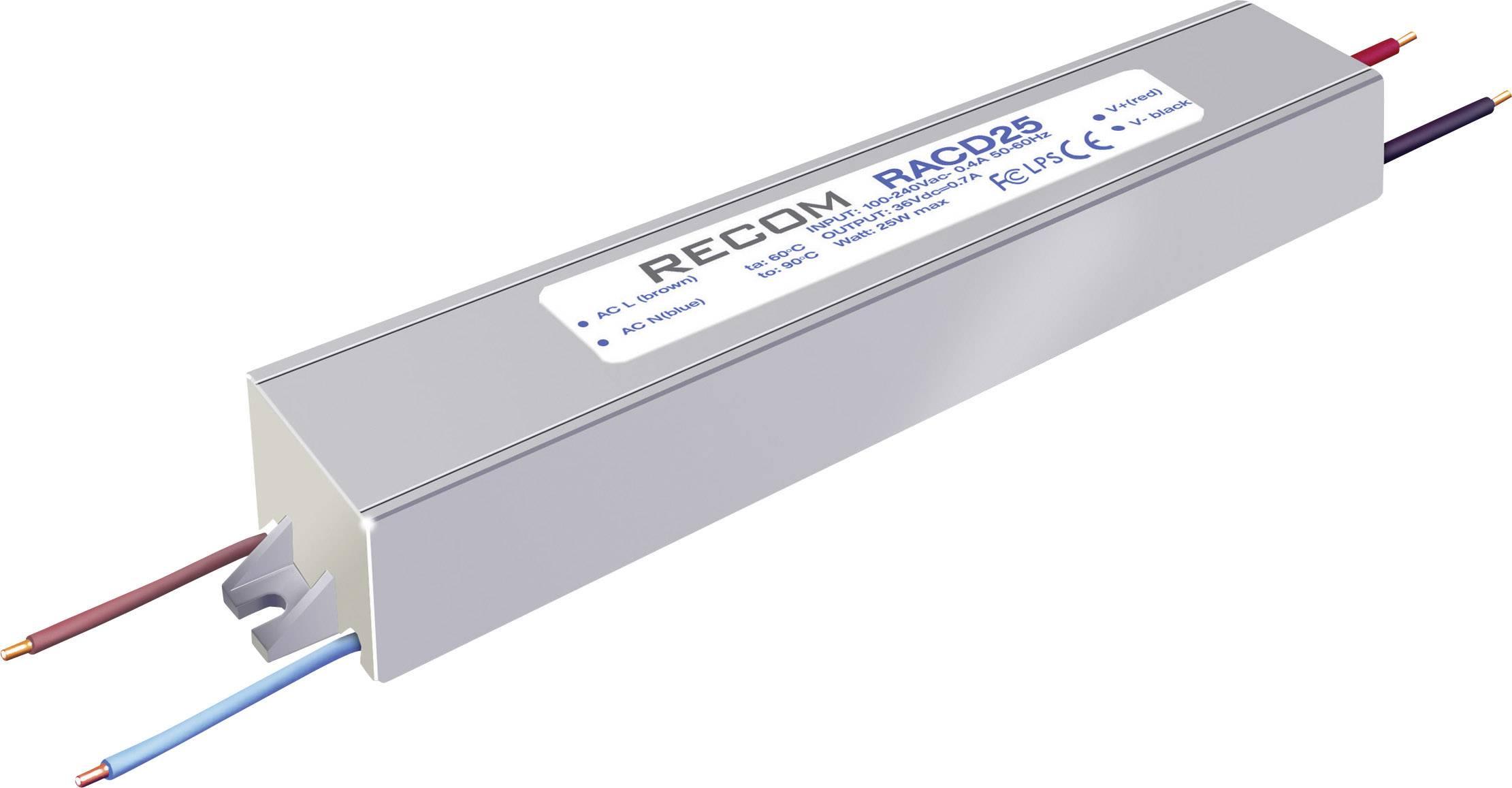 LED driver Recom Lighting RACD25-500P, 25 W (max), 0.52 A, 42 - 52 V/DC