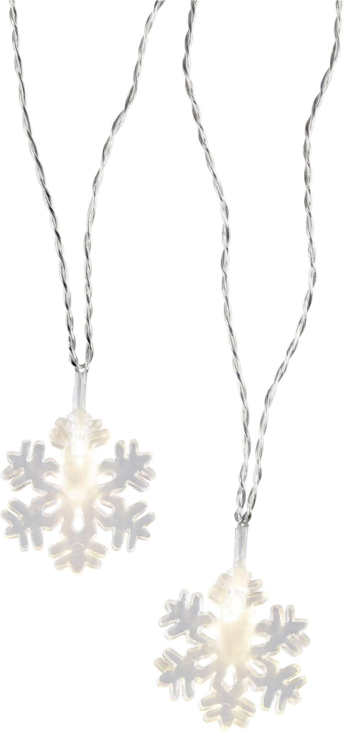Vonkajšia vianočná reťaz Polarlite, snehové vločky, 16 LED, teplá biela