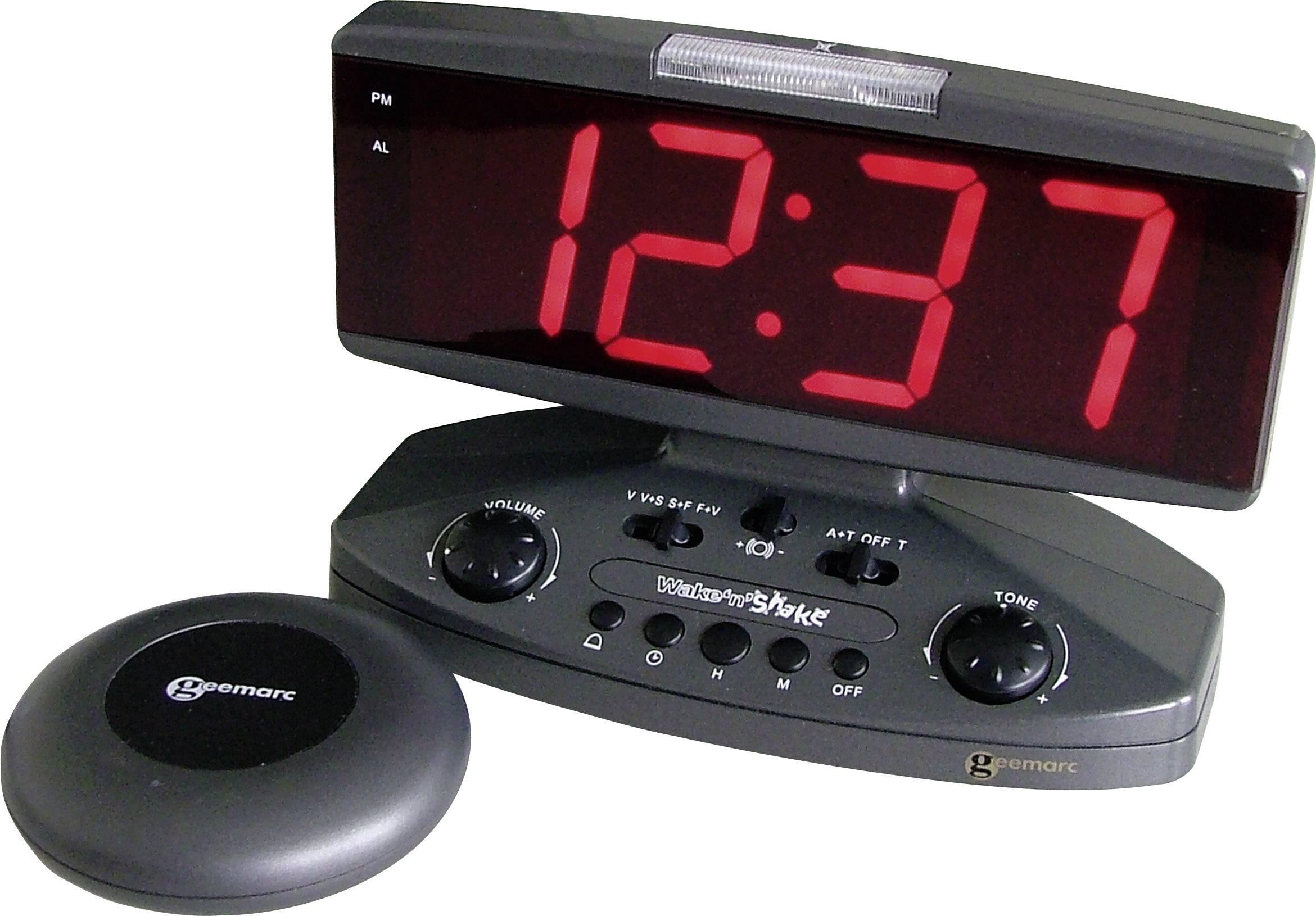 Vibračný LED budík Jumbo Wake n Shake JWNSGTI+-ANTIG, čierna