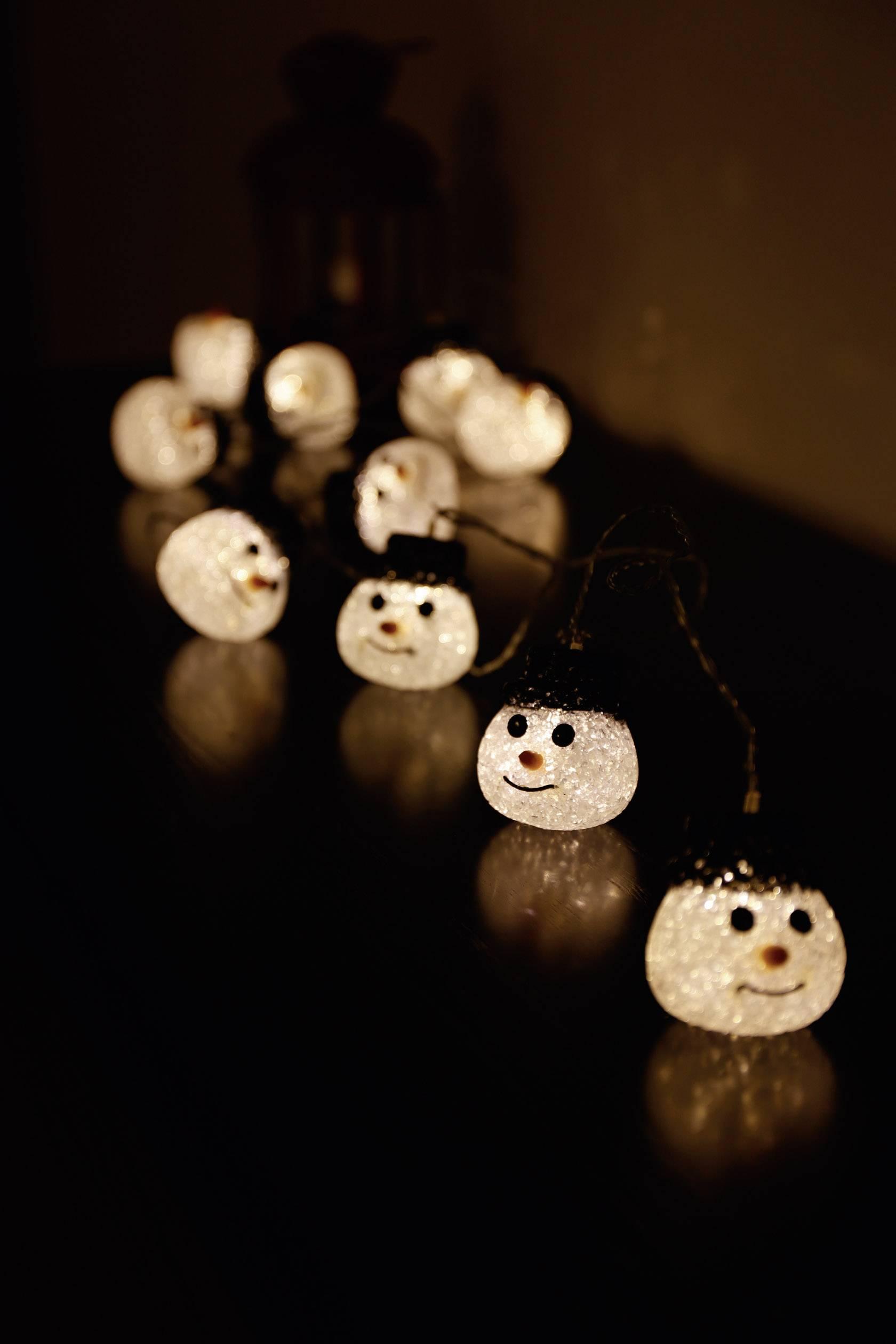 Vonkajšia vianočná reťaz Polarlite, 10 LED, 12.7m, snehuliak