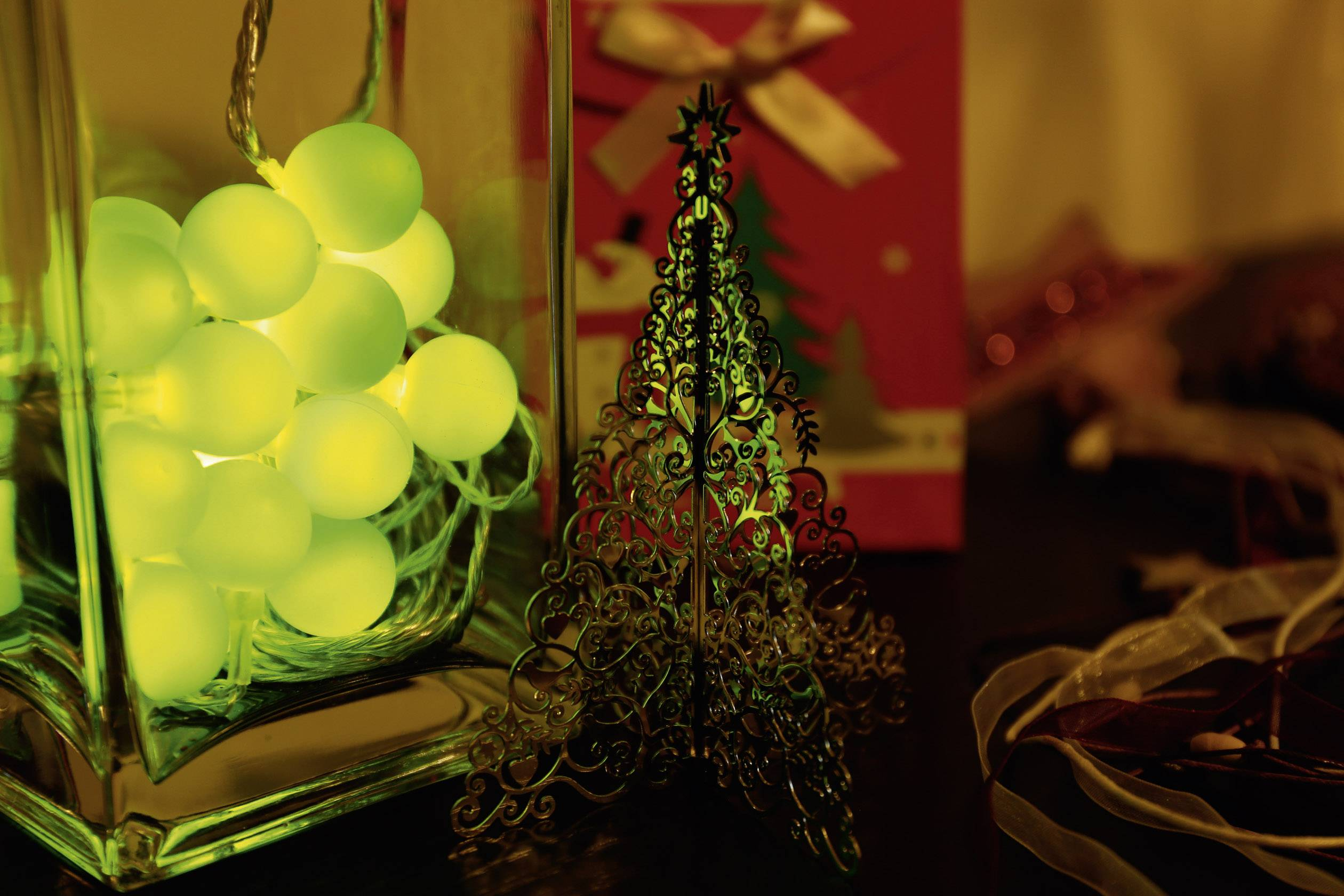 Vnútorná vianočná reťaz Polarlite, 20 LED, zelená