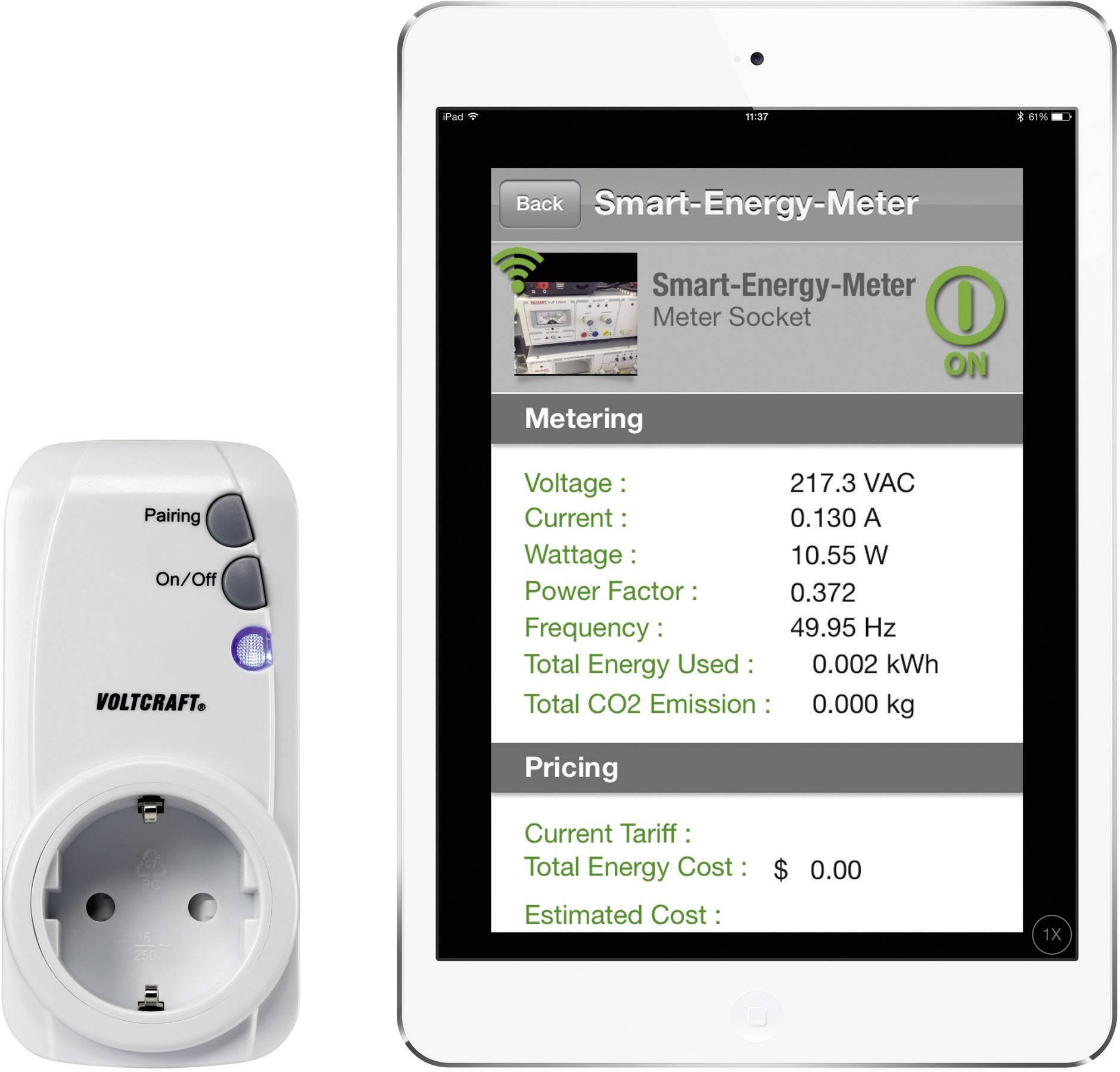 Měřič spotřeby a spínací zásuvka pro iOS a Android Voltcraft SEM-3600BT, schuko zásuvka