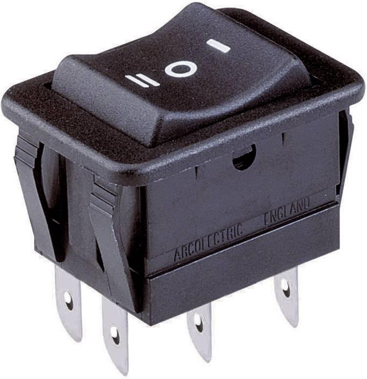 Kolébkový spínač Arcolectric H1570 VB AAA, 2x zap/vyp/zap, 250 V/AC, 16 A, černá