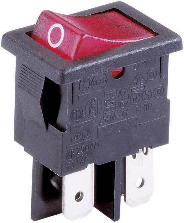 Kolískový spínač s aretáciou Arcolectric H 8553 VB NAG, 230 V/AC, 10 A, 2x vyp/zap, farba svetla: červená, 1 ks