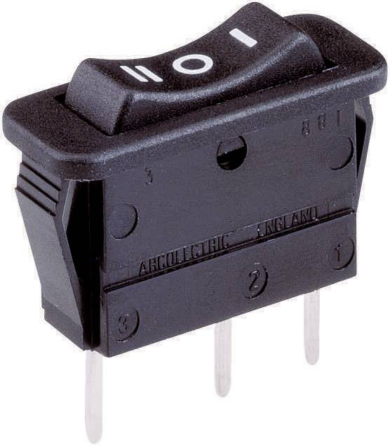 Kolébkový spínač Arcolectric C 1522 VB AAB, 1x (zap)/vyp/(zap), 250 V/AC, 16 A, černá