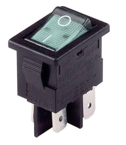 Kolískový spínač s aretáciou Arcolectric H 8553 VB NAC, 230 V/AC, 10 A, 2x vyp/zap, Farba svetla: zelená, 1 ks