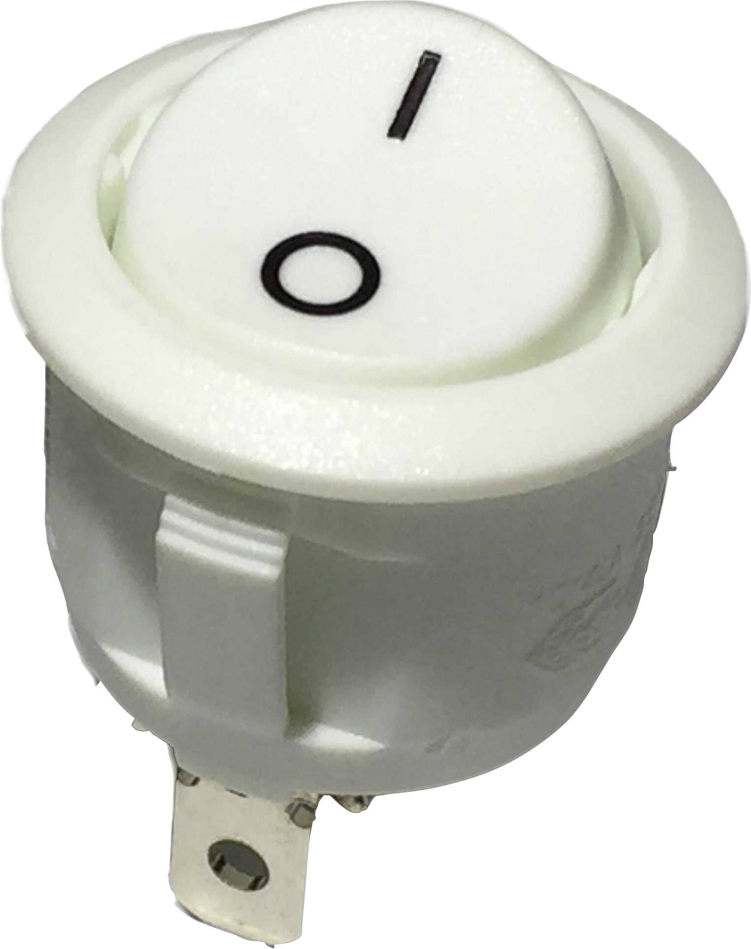 Kolébkový spínač s aretací R13-112A W/W PRINT 0/I, 250 V/AC, 6 A