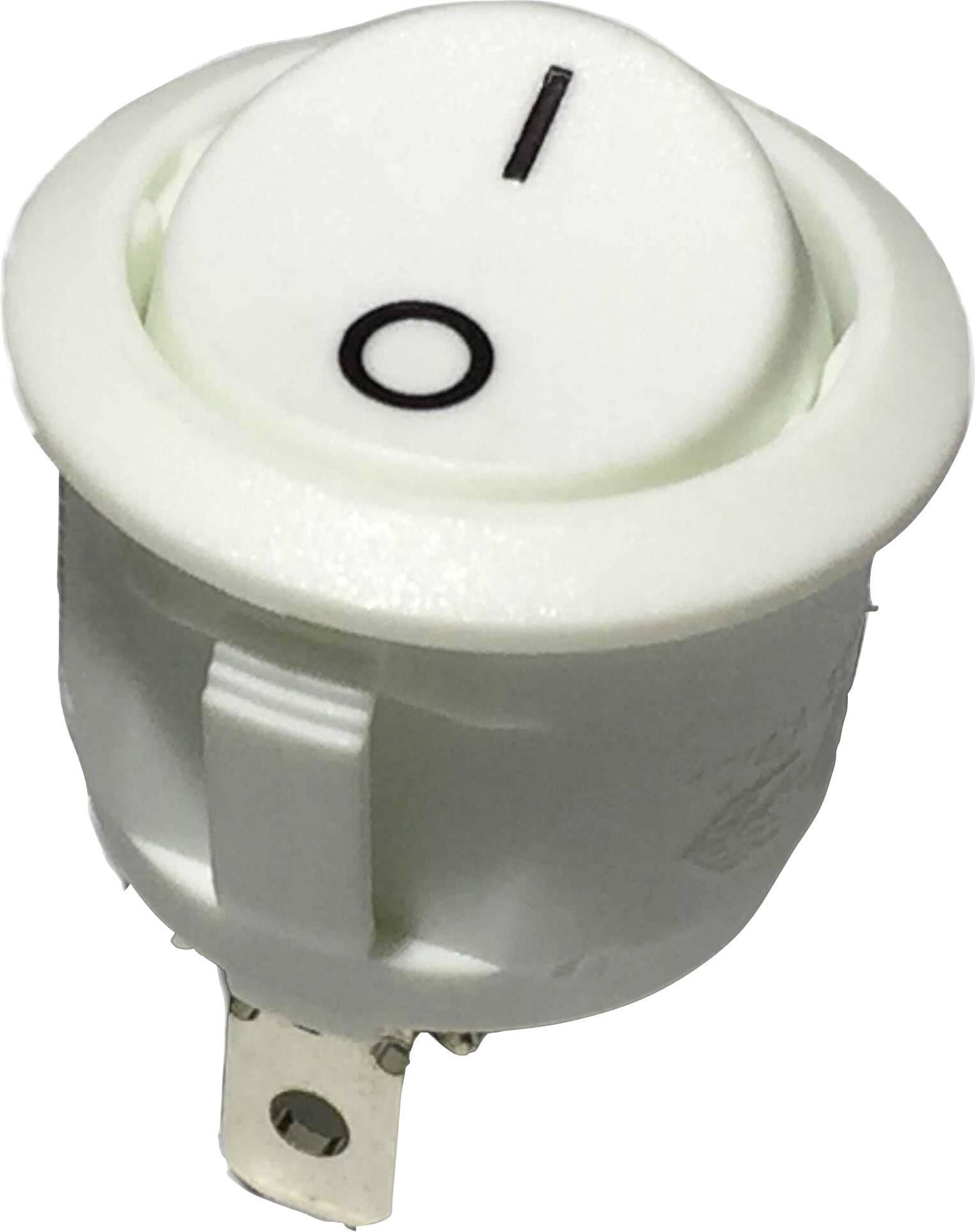 Kolískový spínač s aretáciou R13-112A W/W PRINT 0/I, 250 V/AC, 6 A