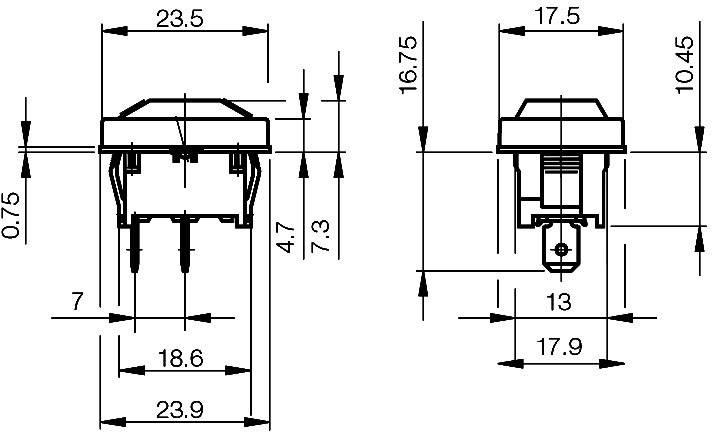 Kolískový spínač s aretáciou Marquardt 1801.1403, 250 V/AC, 10 A