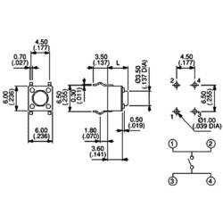 Mikrotlačítko do DPS Apem, PHAP3301D, 12 V/DC, 0,05 A, vyp./(zap.)