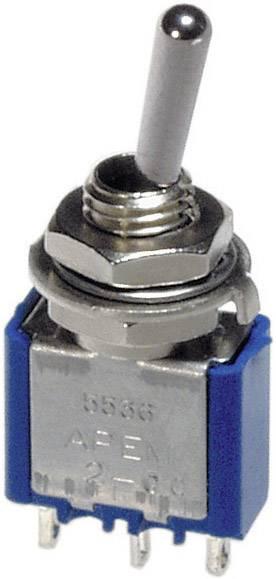 Páčkový spínač APEM 5569A / 55690003, 250 V/AC, 3 A, 4x zap/vyp/zap, 1 ks