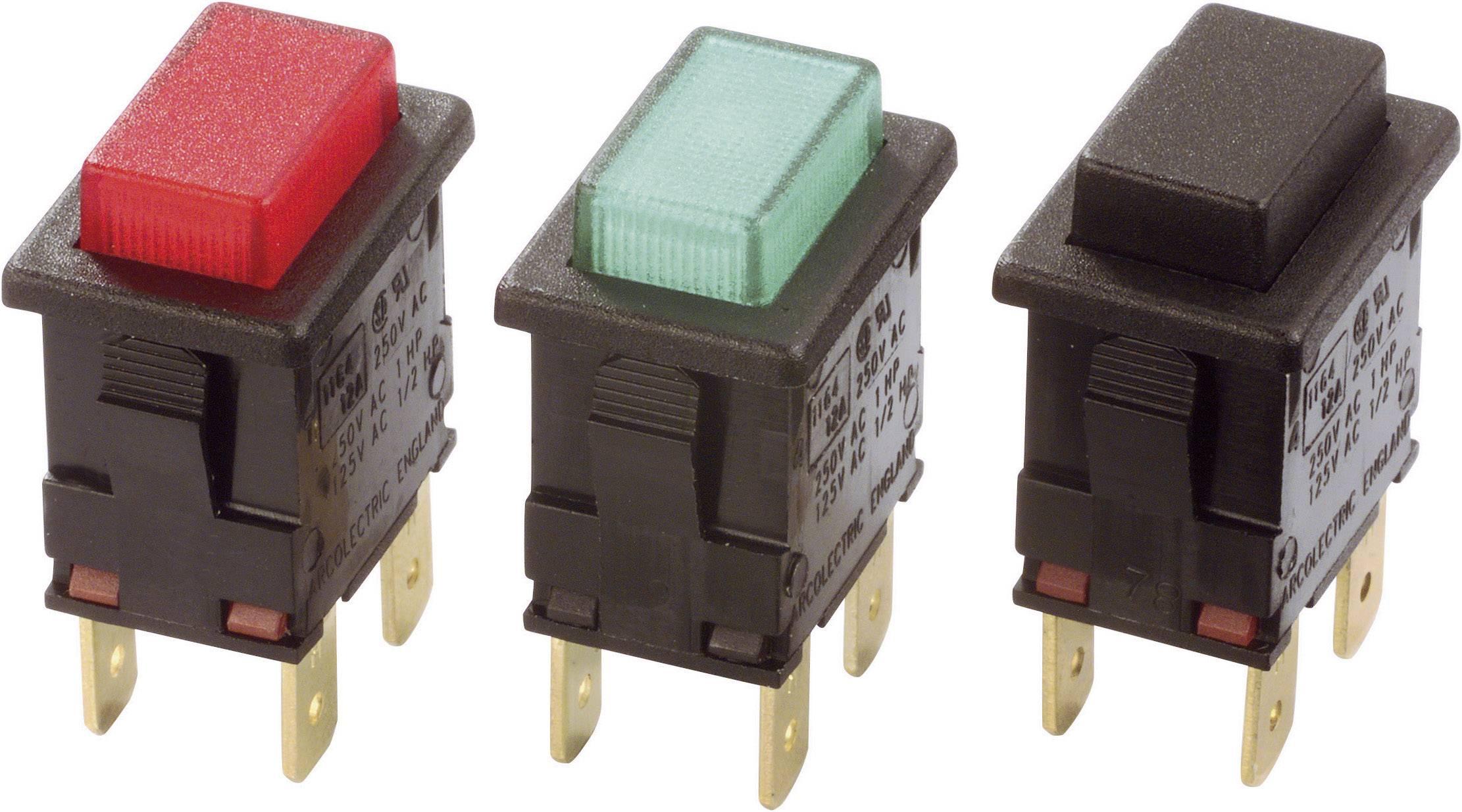 Tlačidlový spínač Arcolectric H8350ABAAA, 250 V/AC, 16 A, čierna, 1 ks