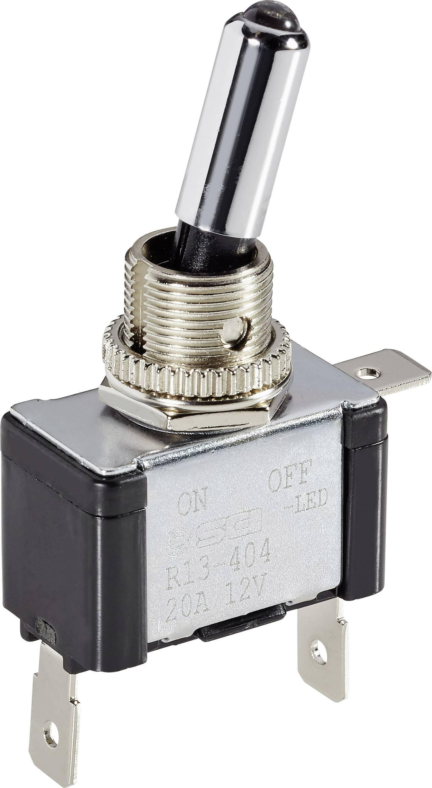 Páčkový prepínač do auta SCI R13-404L BL LED, 12 V/DC, 20 A, s aretáciou, 1 ks