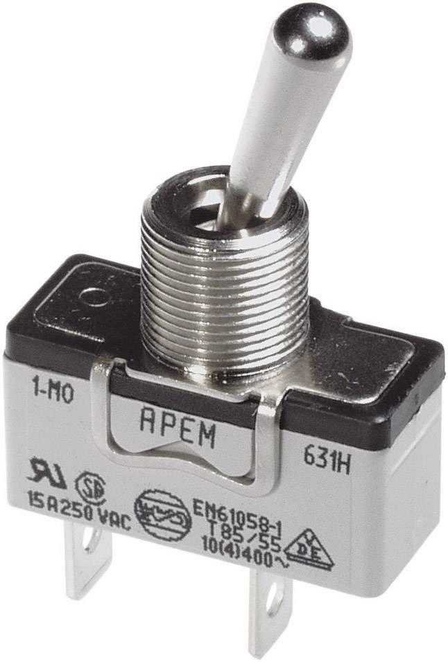 Páčkový spínač pro vysoké proudové zatížení APEM 639H/2 / 6393676, 250 V/AC, 10 A, 1x zap/vyp/zap, 1 ks