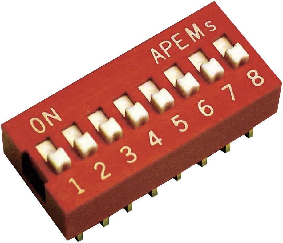 DIP spínač APEM DS-08, 10,16 x 6,9 mm, 500 V/DC, standardní, 8pól.