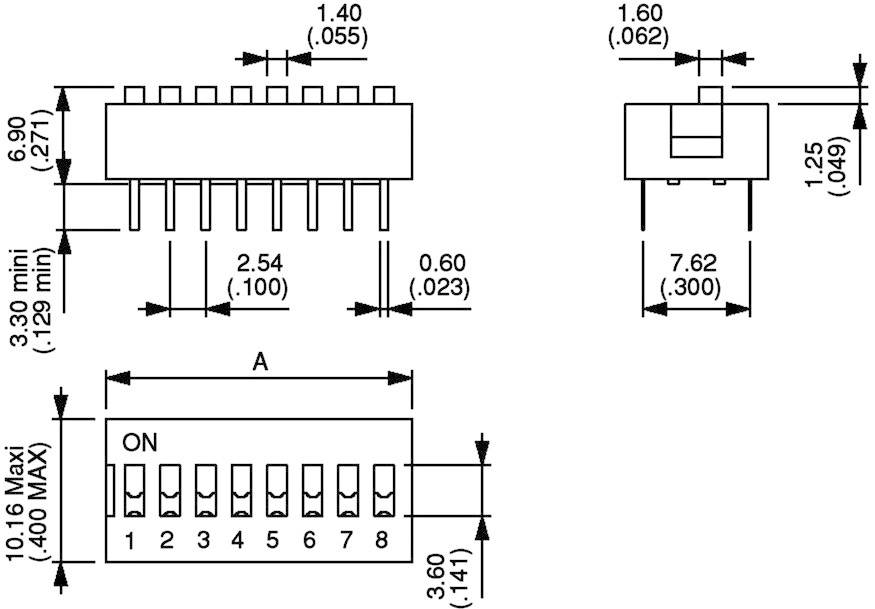 DIP spínač APEM DS-04, 10,16 x 6,9 mm, 500 V/DC, standardní, 4pól.