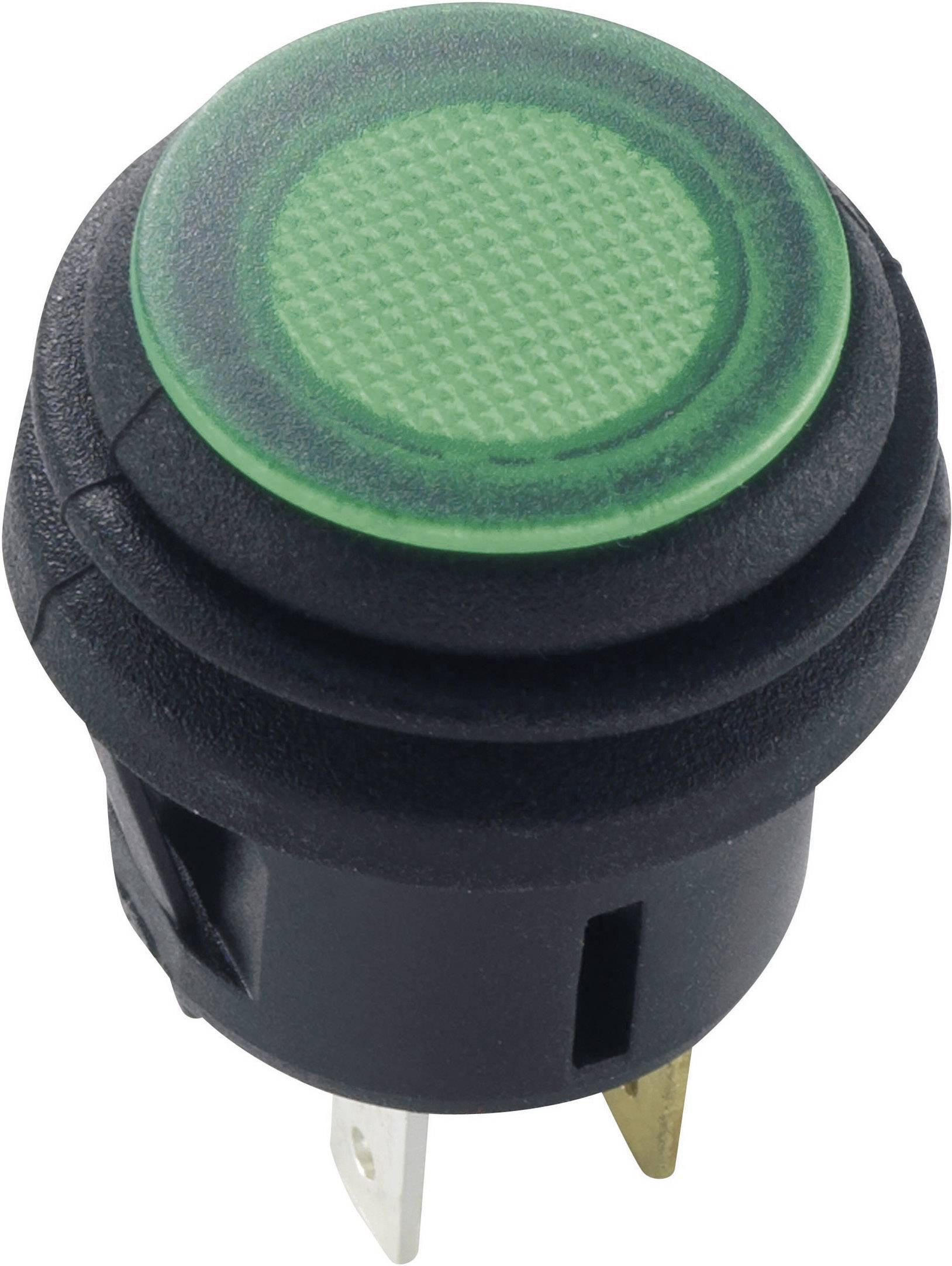 Tlačidlový spínač SCI R13-527D2B, 14 V/DC, 20 A, čierna, 1 ks