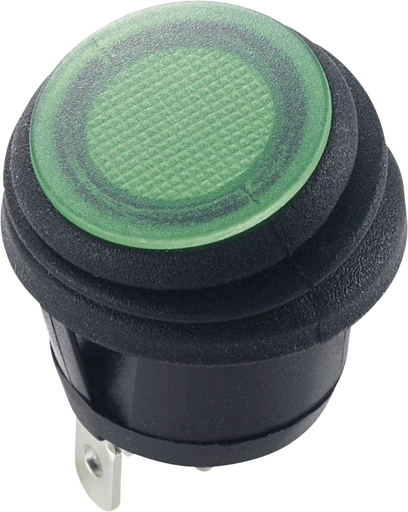 Kolískový spínač s aretáciou SCI R13-112B8W, 12 V/DC, 20 A, 1x vyp/zap, IP65, farba svetla: zelená, 1 ks