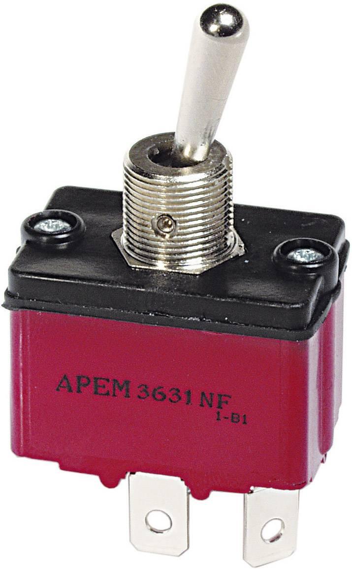 Izolovaný páčkový spínač APEM 3647NF/2 / 36471200, 250 V/AC, 6 A, 2x (zap)/vyp/(zap), 1 ks