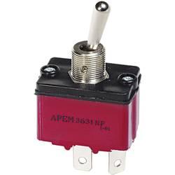 Izolovaný pákový spínač APEM 3637NF/2 / 36371200, 250 V/AC, 6 A, 1x (zap)/vyp/(zap), 1 ks
