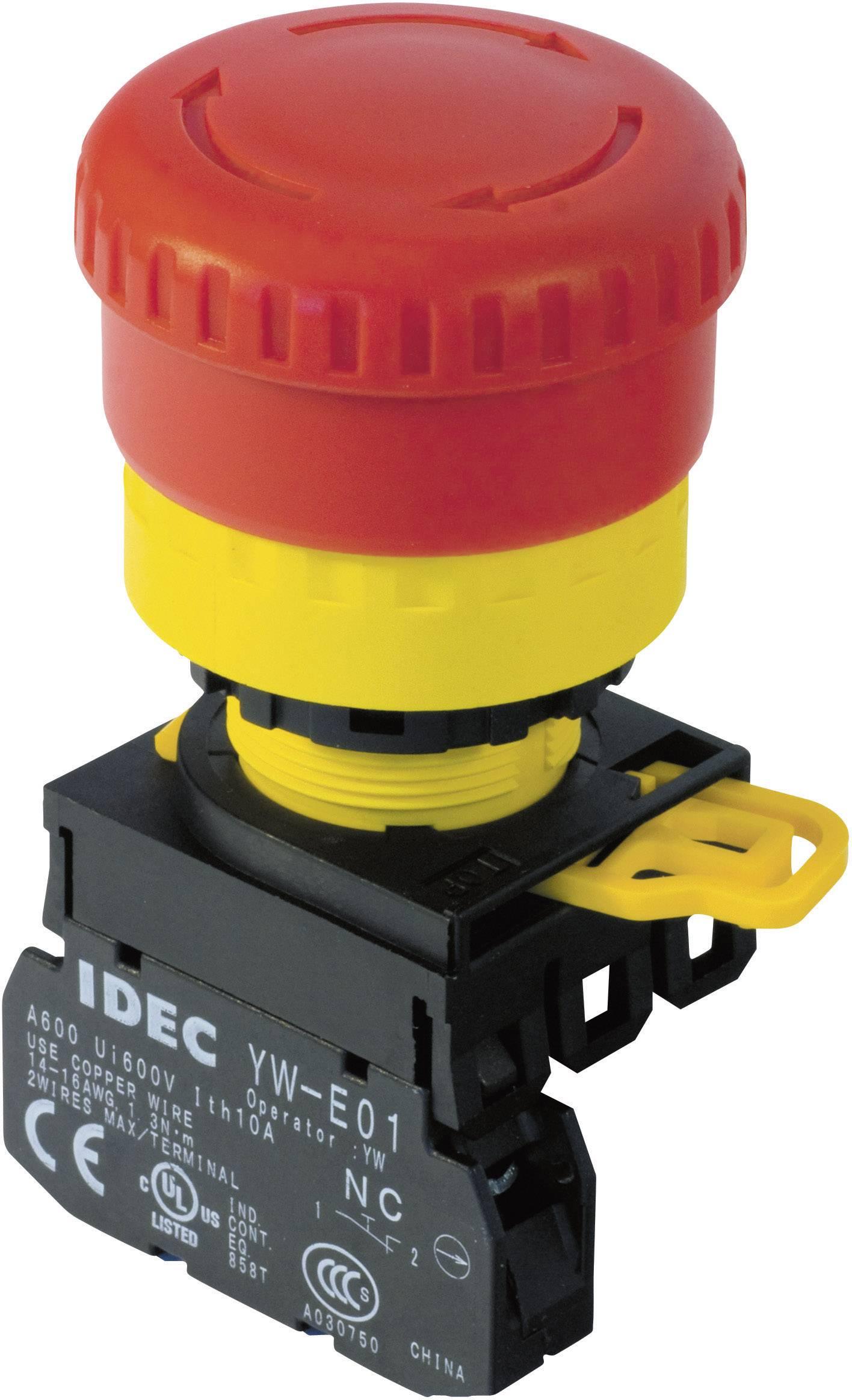 Nouzové tlačítko Idec YW1B-V4E01R, 22 mm, 240 V/AC, 6 A, červená/žlutá