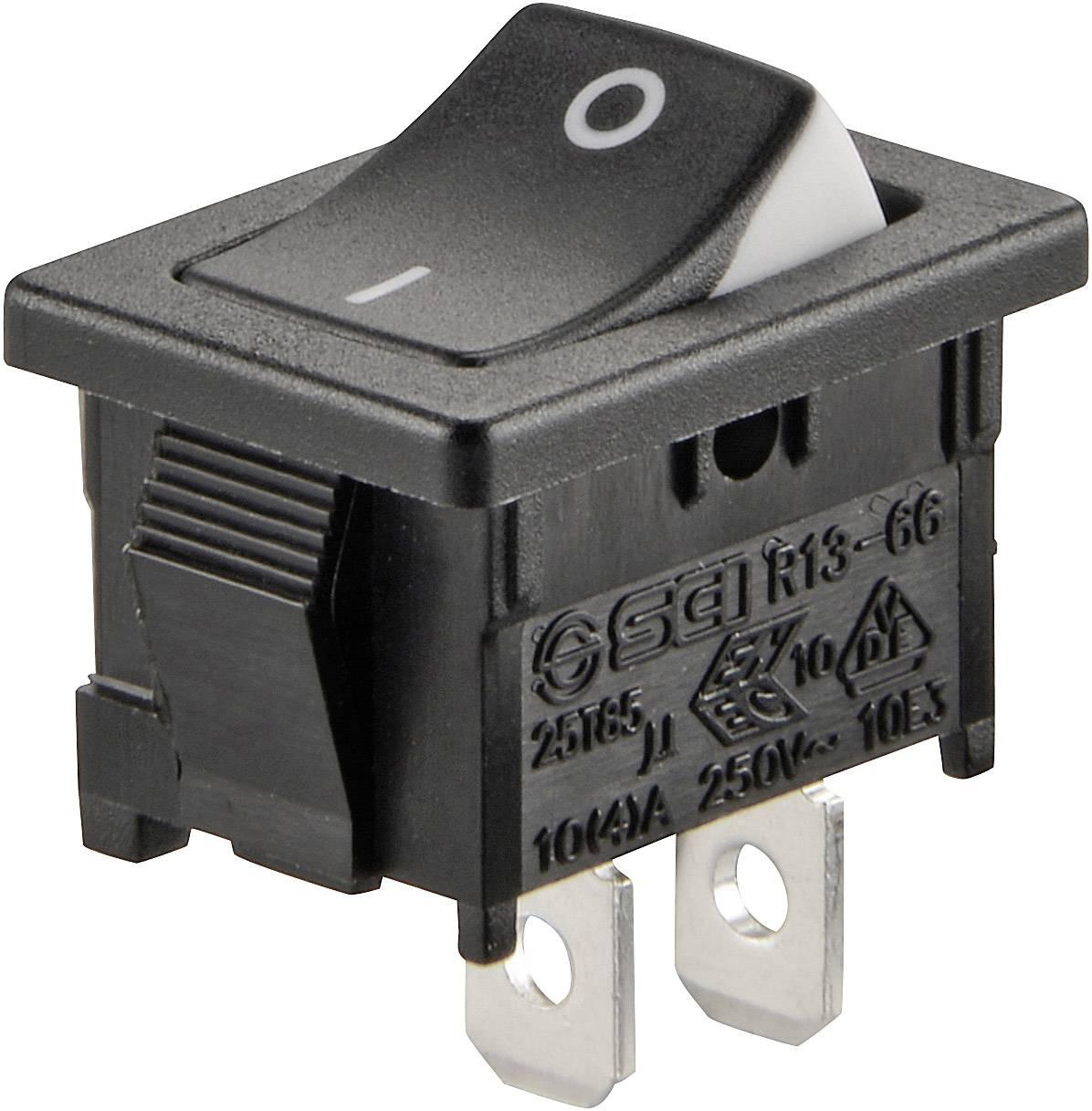 Kolískový spínač SCI R13-66A3-02 s aretáciou 250 V/AC, 6 A, 1x vyp/zap, čierna, biela, 1 ks