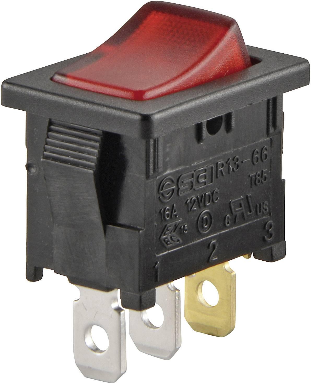 Kolébkový spínač SCI R13-66B-02 (250V/AC 150KR) s aretací 250 V/AC, 6 A, 1x vyp/zap, černá, červená, 1 ks