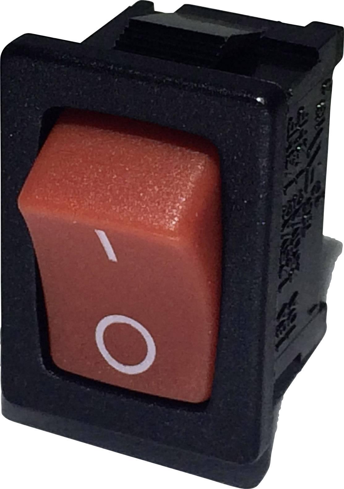 Kolískový spínač SCI R13-66A-02 s aretáciou 250 V/AC, 6 A, 1x vyp/zap, čierna, červená, 1 ks