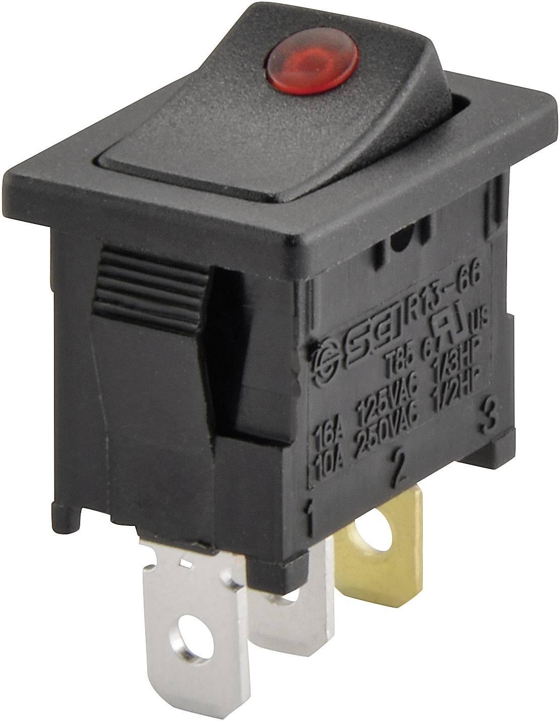 Kolískový spínač SCI R13-66B2-02 (250V/AC 150KR) s aretáciou 250 V/AC, 6 A, 1x vyp/zap, čierna, červená, 1 ks