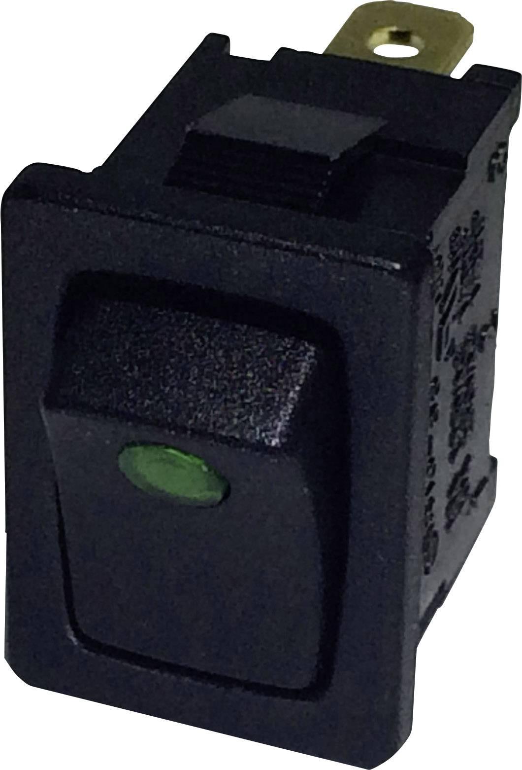 Kolískový spínač SCI R13-66B2-02 (250V/AC 150KR) s aretáciou 250 V/AC, 6 A, 1x vyp/zap, čierna, zelená, 1 ks