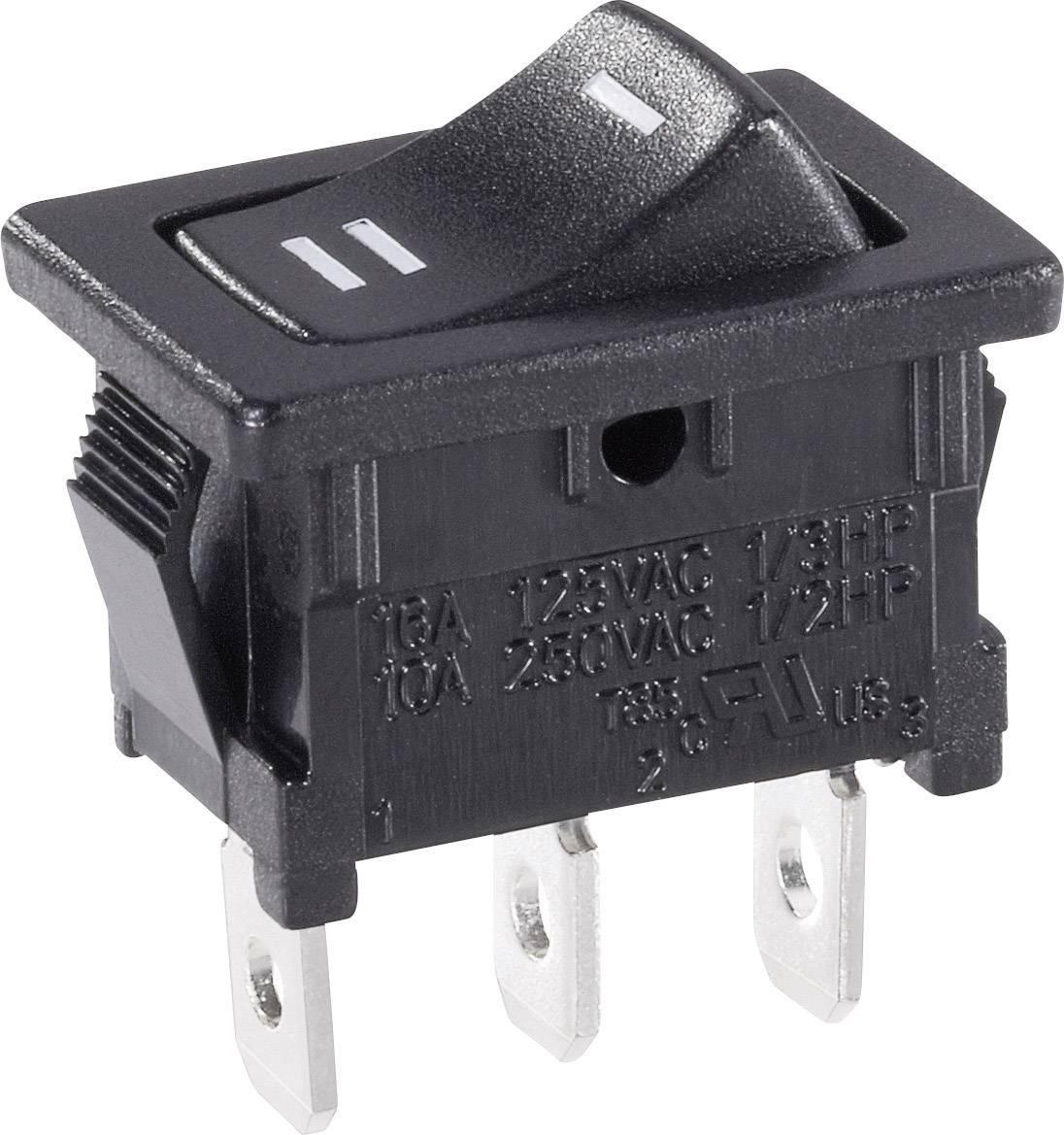 Kolískový spínač SCI R13-66C-02 s aretáciou 250 V/AC, 6 A, 1 zap/zap, čierna, 1 ks