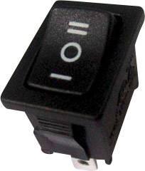 Kolébkový spínač SCI R13-66D-02 s aretací/0/s aretací 250 V/AC, 6 A, 1x zap/vyp/zap, černá, 1 ks
