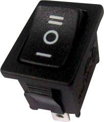 Kolískový spínač SCI R13-66D-02 s aretáciou/0/s aretáciou 250 V/AC, 6 A, 1x zap/vyp/zap, čierna, 1 ks