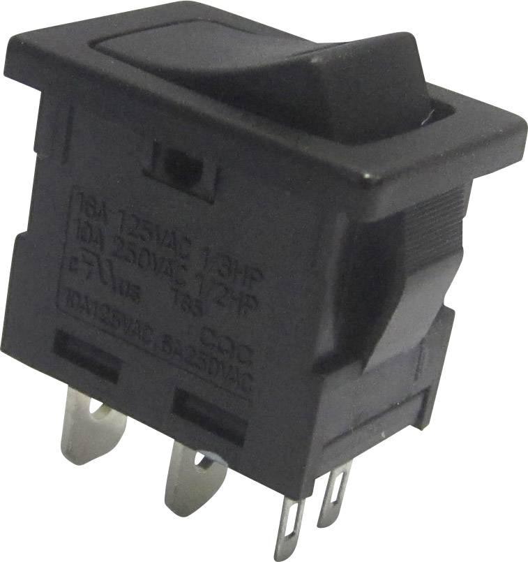 Kolískový spínač SCI R13-66L-02 s aretáciou 250 V/AC, 6 A, 1x vyp/zap, čierna, 1 ks