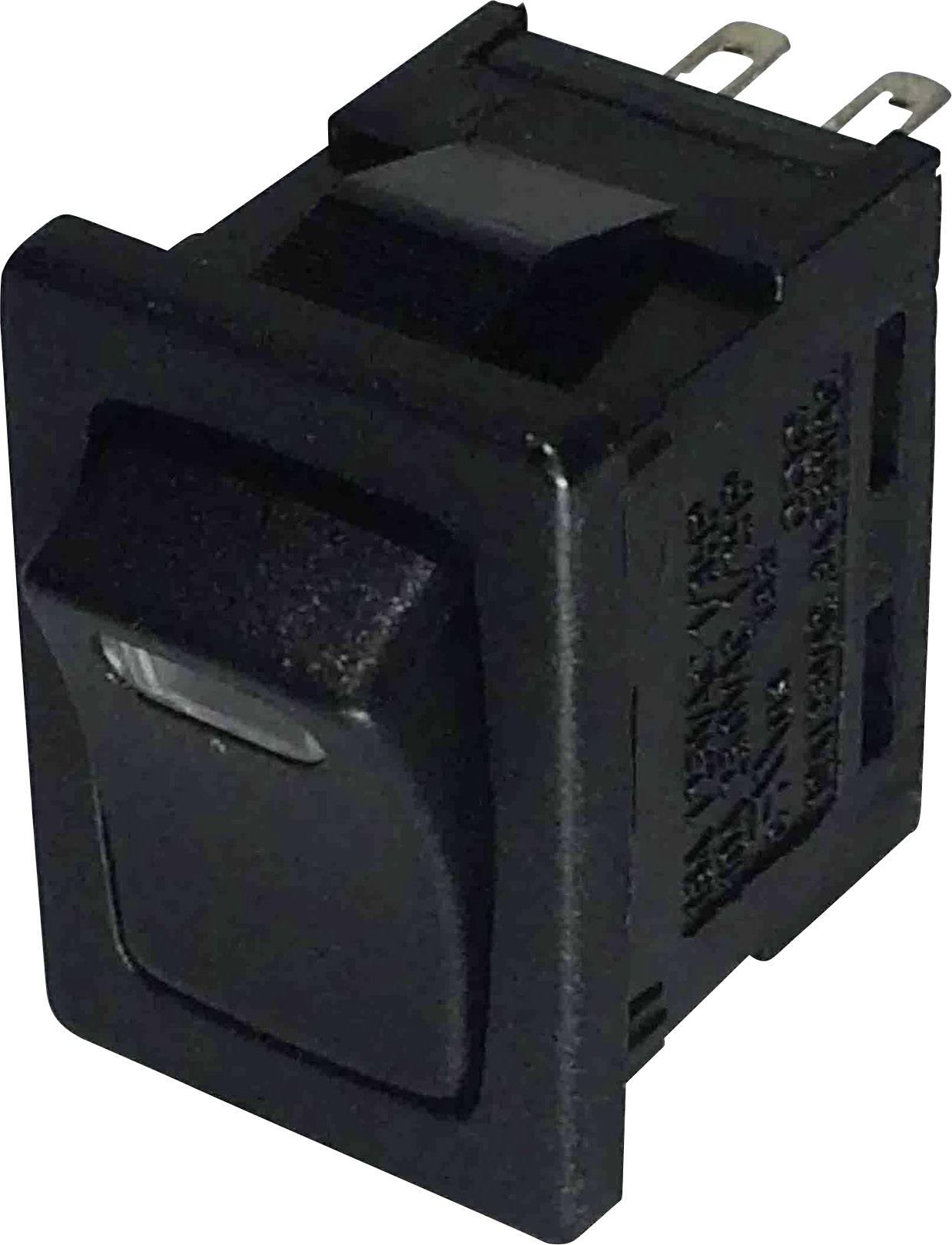Kolébkový spínač SCI R13-66L-02 LED 12V/DC s aretací 250 V/AC, 6 A, 1x vyp/zap, černá, červená, 1 ks