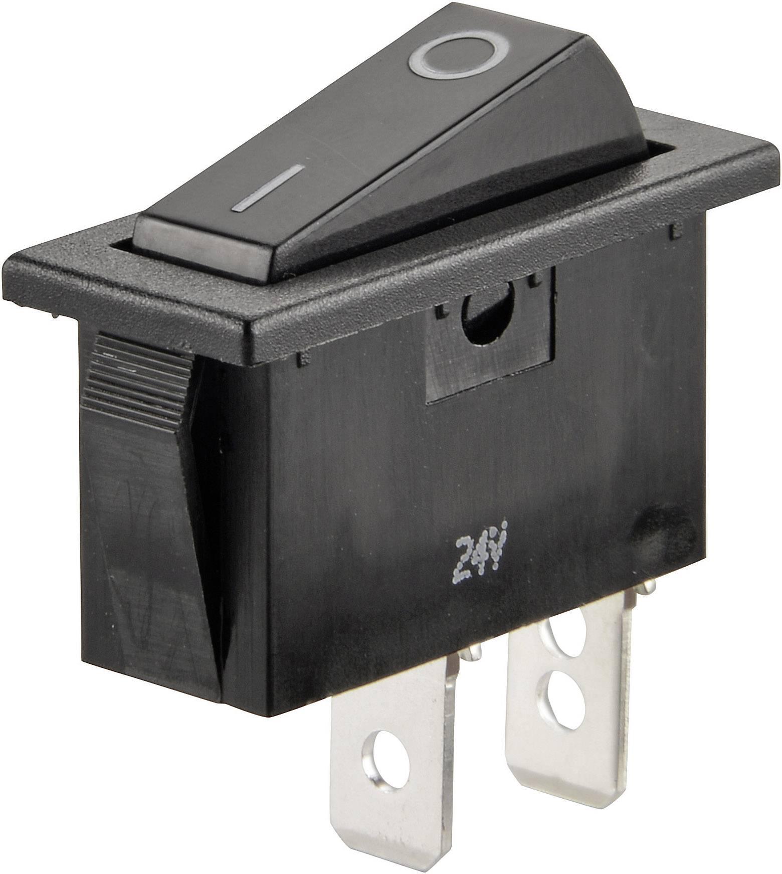 Kolískový spínač SCI R13-70A-01 s aretáciou 24 V/DC, 10 A, 1x vyp/zap, čierna, 1 ks