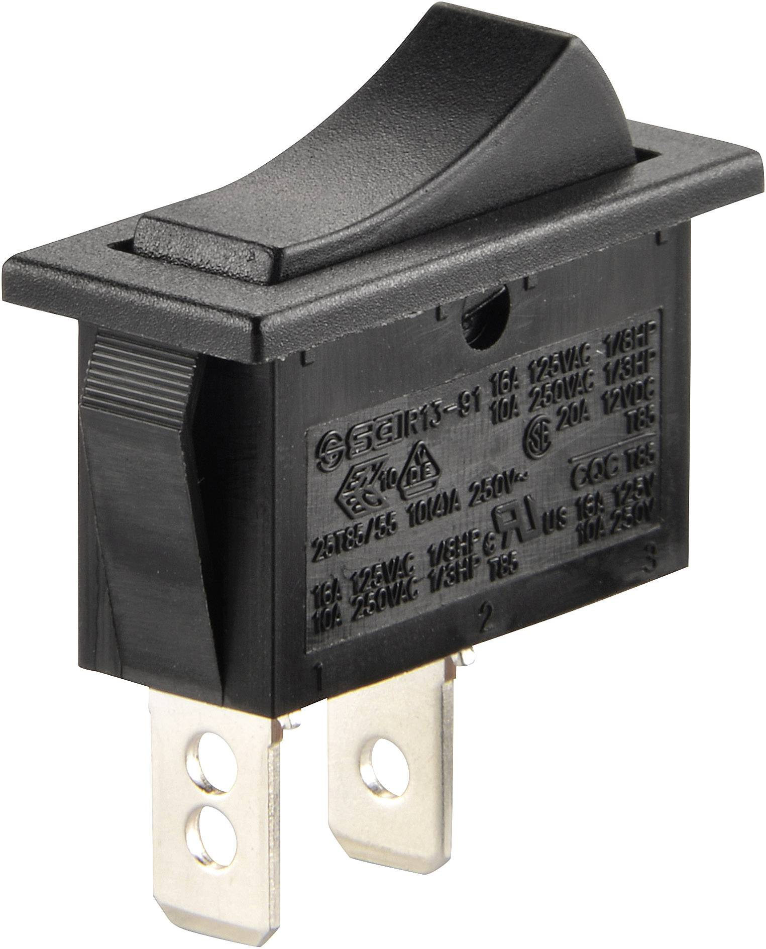 Kolískový spínač SCI R13-91A-01 s aretáciou 250 V/AC, 10 A, 1x vyp/zap, čierna, 1 ks