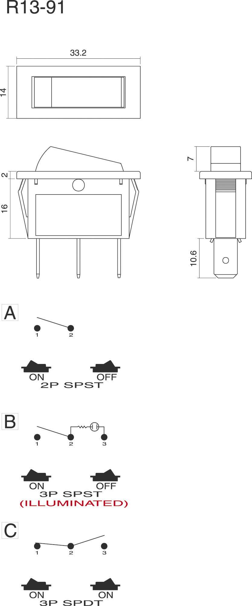 Kolískový spínač SCI R13-91B-01 s aretáciou 250 V/AC, 10 A, 1x vyp/zap, čierna, zelená, 1 ks