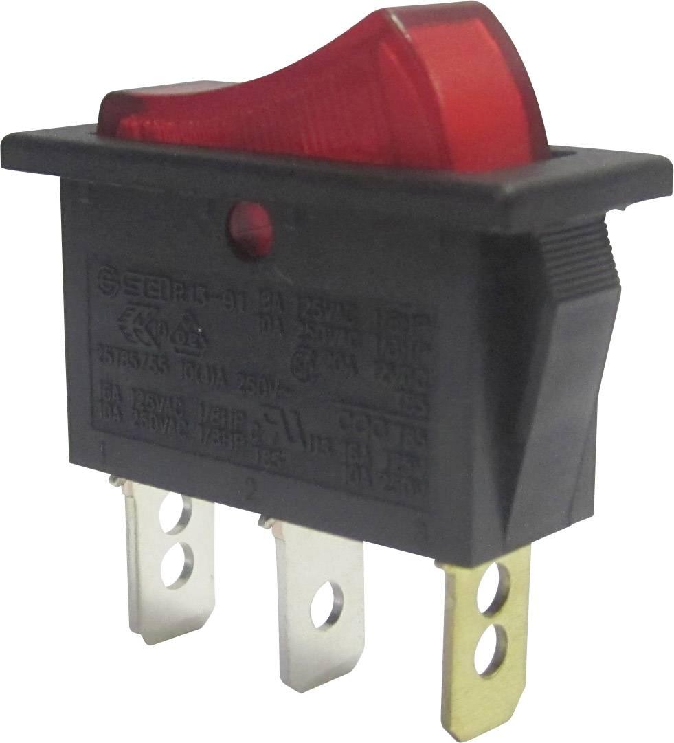 Kolískový spínač SCI R13-91B-01 s aretáciou 250 V/AC, 10 A, 1x vyp/zap, čierna, červená, 1 ks