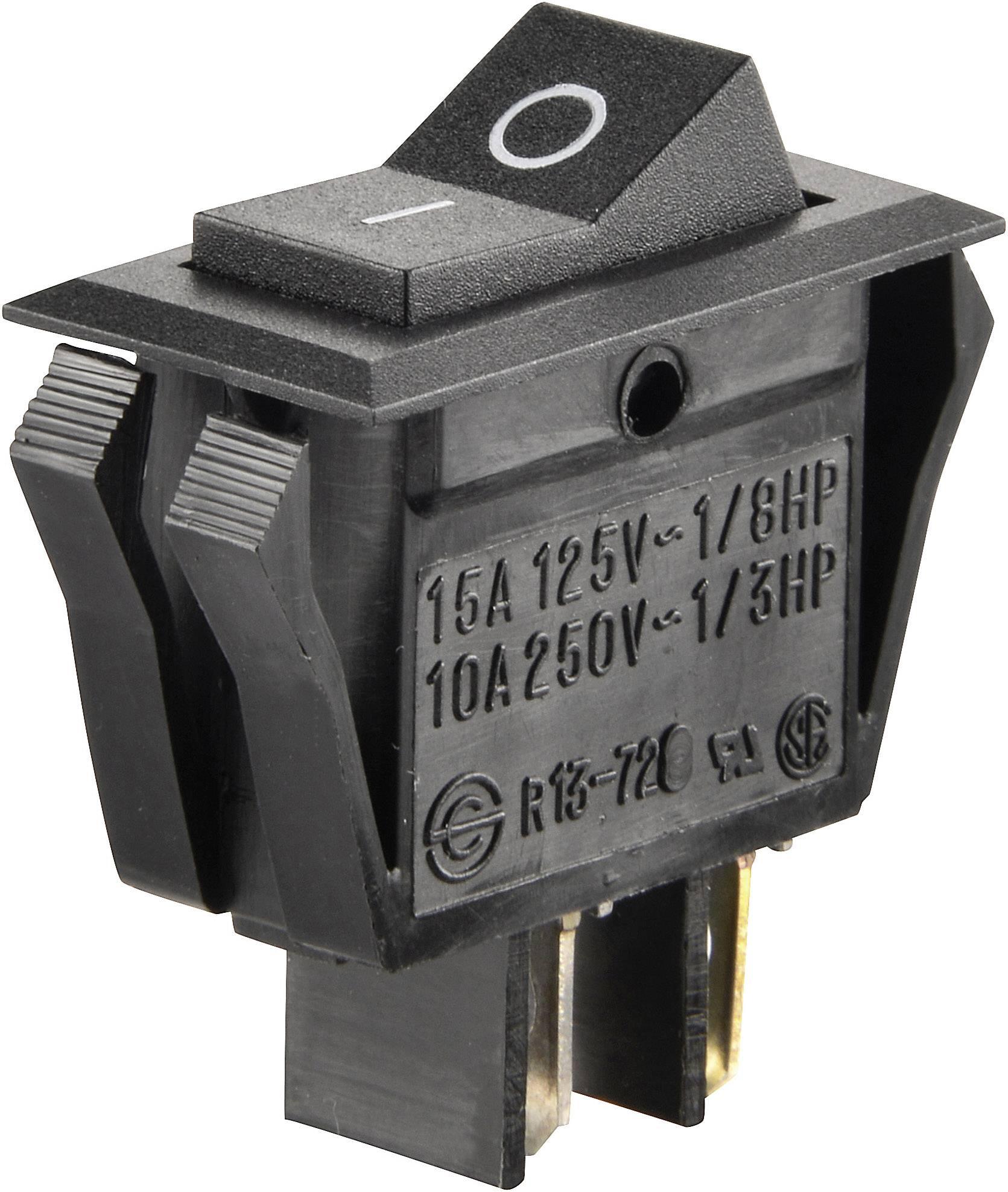 Kolískový spínač SCI R13-72A-01 s aretáciou 250 V/AC, 10 A, 1x vyp/zap, čierna, 1 ks
