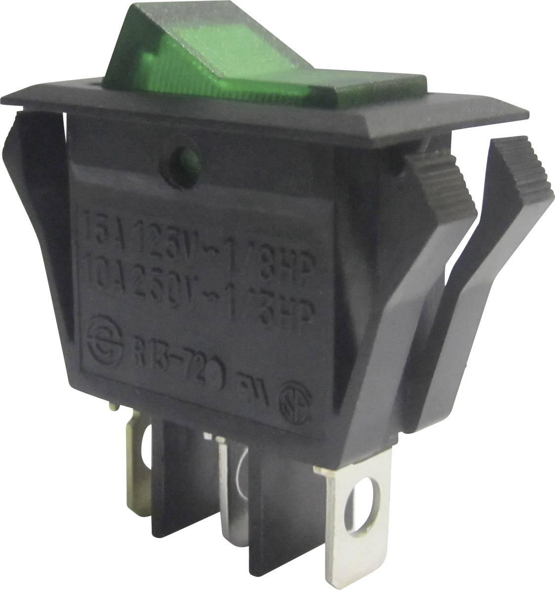 Kolískový spínač SCI R13-72B-01 s aretáciou 250 V/AC, 10 A, 1x vyp/zap, čierna, zelená, 1 ks