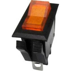 Kolébkový spínač SCI R13-72B-01 s aretací 250 V/AC, 10 A, 1x vyp/zap, černá, žlutá, 1 ks