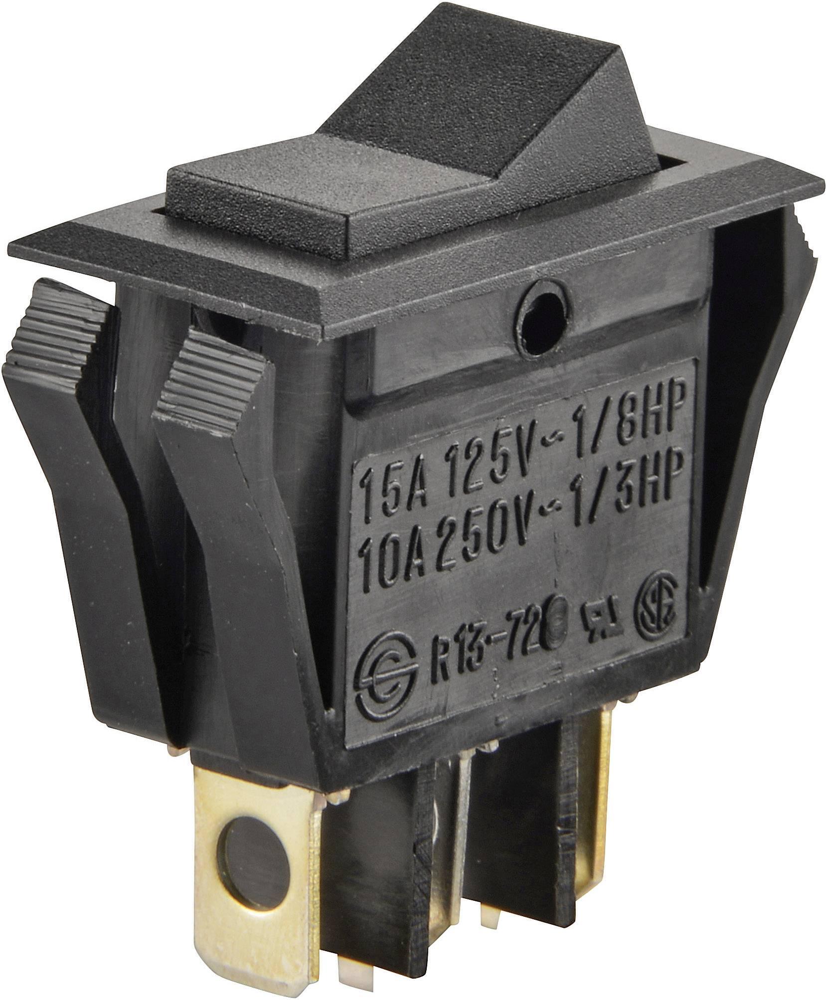 Kolískový spínač SCI R13-72D-01 s aretáciou/0/s aretáciou 250 V/AC, 10 A, 1x zap/vyp/zap, čierna, 1 ks